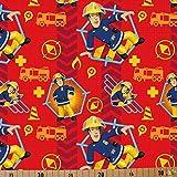 Jersey Stoffe Feuerwehrmann Sam rot 0,50m x VB