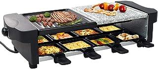 Leogreen - Appareil à Raclette 8 Personnes, Appareil à Raclette Multifonction 3 en 1, Raclette Grill 1200W, Inclus : 8 Poê...