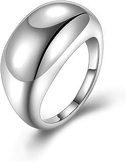 خواتم فضية للنساء - 18 قيراط مطلية بالذهب شخصية سميكة قبة خاتم رقم 5-10