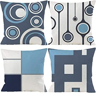 Best EZVING Set of 4 White Gray Blue Modern Abstract Geometric Throw Pillow Covers 20x20 Inches Decorative Cushion Pillow Cases Square Pillowcases for Bed Sofa Review