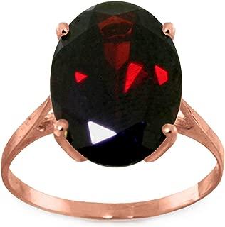 14K Solid Rose Gold Solitaire Ring 6 Carat Oval Natural Garnet