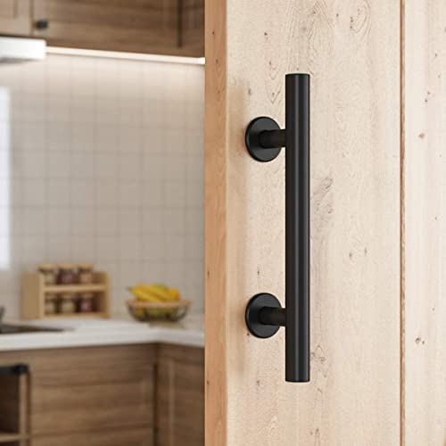 SMARTSTANDARD 10 Inch Sliding Barn Door Handle, Pull and Flush Hardware Set, Black Powder Coated Finish, Large Rustic Two-Side Design, Round