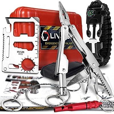LIVABIT Survival Kit Emergency SOS Survival Multi Tool Pack + Bonus Paracord Bracelet for Camping Hiking Hunting Biking Climbing Traveling and Emergency from LIVABIT