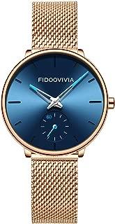 Womens Wrist Watch Minimalist Ultra Thin Waterproof Fashion Quartz Analog Watch Blue Stainless Steel Band Analog Quartz Watch (Blue)