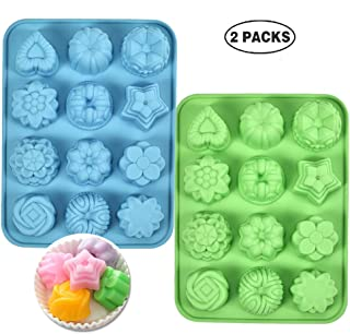 Silicone Cupake Baking Molds Food Grade Candy Jelly Chocolate Bread Pie Flan Tart bakeware,Non-Stick,for Party,Dishwasher Safe(Set of 2) (2PCS)