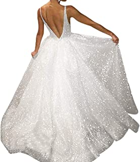 03dc73150080 Deep V Neck Wedding Dress, Malbaba Sleeveless Glitter Princess Chiffon  Party Maxi Dress, Gown