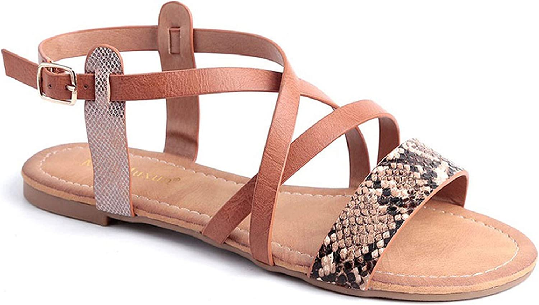 Luuvy-shop sandal Women shoes Snake Effect Cross Strappy Casual Thong Flip Flops Summer Comfort Flat Sandals