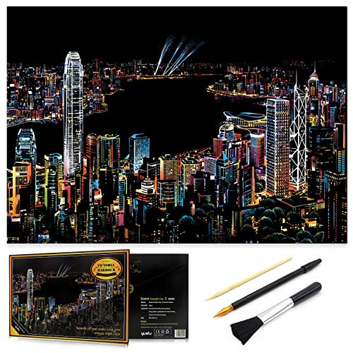 Scratch Art Rainbow Painting Paper, Sketch Pad DIY Night View Scratchboard for Kids & Adults, Engraving Art & Craft Set, Scratch Painting Creative Gift, 16'' x 11.2'' with 3 Tools (Victoria Harbour)