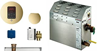 Mr. Steam MS90E Steam Bath Generator with Round Butler Package in Satin Brass