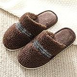 N/W Zapatillas de Viaje para Mujer, Zapatillas cálidas de Invierno para Mujer, Zapatillas de Lana de Suela Gruesa Antideslizantes-Brown_44-45