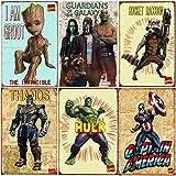 WOSTOD Marvel Avengers Vintage Superhero Metal Tin Sign Hulk,American Captain,Groot,Thanos,Rocket Raccoon,Infinity War Super Hero Comic Antique Signs Wall Decor 6Pcs-8X12Inch