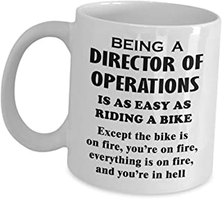 Gifts For Director Of Operations Ceramic Mug - Riding A Bike On Fire - COO Coffee Tea Cup Chief Operating Officer Office Appreciation Gift Idea Novelty Funny Cute Gag
