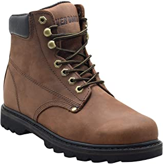 "EVER BOOTS ""Tank"" Men's Soft Toe Oil Full Grain Leather Work Boots Construction Rubber Sole"