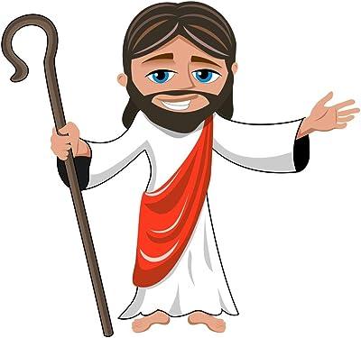5 Ace Cartoon Smiling Jesus Sticker Poster Christian Religion Jesus Christ Poster Size:12x18 inch,Multicolor