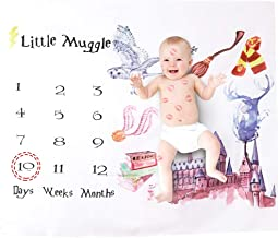 Milestone Blanket, Baby Monthly Blanket for Photography Backdrop Photo Prop for Infant Newborn Babies