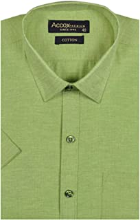 ACCOX Half Sleeves Formal Regular Fit 100% Cotton Solid Plain Shirt for Men
