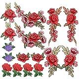 Homgaty 16 parches bordados de rosa, para coser en la insignia de la flor, para hacer manualidades, vaqueros, chaquetas, bolsos, sombreros, ropa, zapatos, rojo