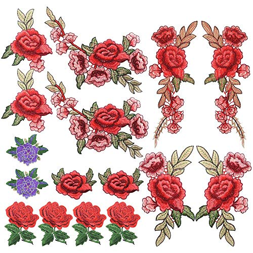 Homgaty 16 parches bordados de rosa, para coser en la insignia de la flor, para hacer manualidades, vaqueros,...