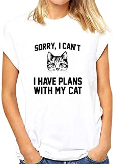 Beloved Womens Print Cat Fashion Summer Short Sleeve Casual T Shirt Blouse Top White XXXX-Smalll