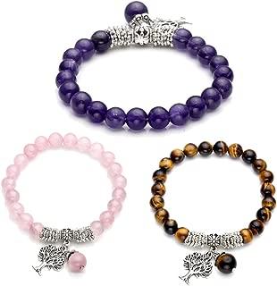 Jovivi 8MM Purple Amethyst Natural Gemstone Tree of Life Lucky Charm Stretch Bracelet
