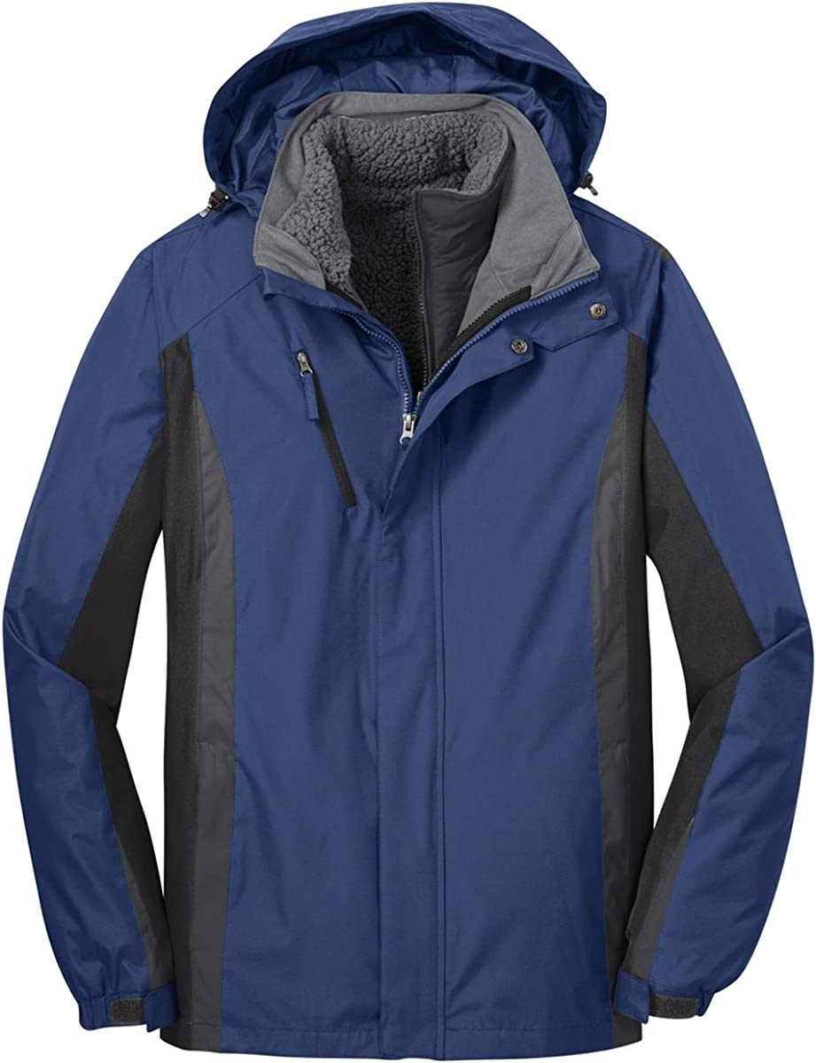 Port Authority Men's Polyester Colorblock 3-in-1 Jacket, S, Blue/Black/Grey