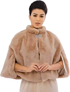 Zoestar Women's Faux Fur Shawls and Wraps Wedding Fur Shrug Winter Fur Cape for Brides and Bridesmaids