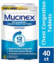 Chest Congestion, Mucinex Expectorant 12 Hour Extended Release Tablets, 40ct, 600 mg Guaifenesin with Extended Relief of Chest Congestion Caused by Excess Mucus. Thins and Loosens Mucus