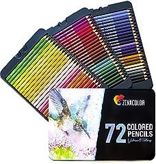 72 Lápices de Colores (Numerado) con Caja de Metal de Zenacolor - 72 Colores Únicos para Libro de Colorear para Adultos - Fácil Acceso con 3 Bandejas - Regalo Ideal para Artistas y Adultos