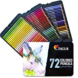 72 Colouring Pencils (Numbered) with Metal Box by Zenacolor - 72 Unique Coloured Pencils and Pre Sharpened Crayons for Coloring Book - Easy Access with 3 Trays - Ideal Christmas Gift Set for Artists