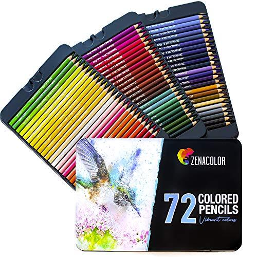 72 Färgpennor (numrerade) med metallåda från Zenacolor – 72 unika färgade pennor och förvässade kritor för målarbok – enkel åtkomst med 3 brickor – perfekt julklappsset för artister
