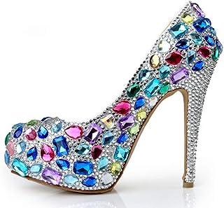 Women's High Heels Wedding Shoes, Fine Heel High 14 cm Colorful Glass Diamond Shallow Mouth Rhinestones Platform High Heels Comfortable for Banquet Wedding