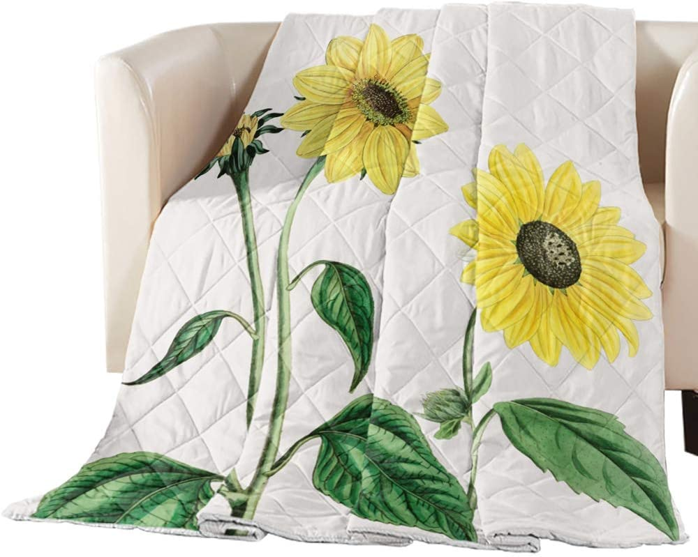 2021 autumn and winter Department store new Arts Language Bedspread Quilt Twin Blooming Flowe Size Sunflower