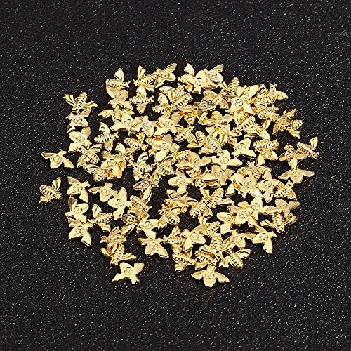 100 Stück/Beutel Metall Bienen 3D Nagel Dekoration Metall Stick Gold Silber Nagel Aufkleber Maniküre(GOLDEN)