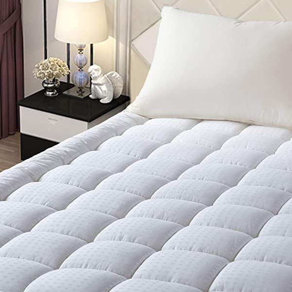 EASELAND Queen Size Mattress Pad Pillow Top Mattress Cover Quilted Fitted Mattress Protector Stretches Up 8 21 Deep Pocket Cooling Mattress Topper