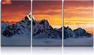 3 Piece Canvas Wall Art - Sunset on The Summit of Mount Everest - Modern Wall Decor Gallery Canvas Wraps Giclee Print Stretched and Framed Ready to Hang - 12