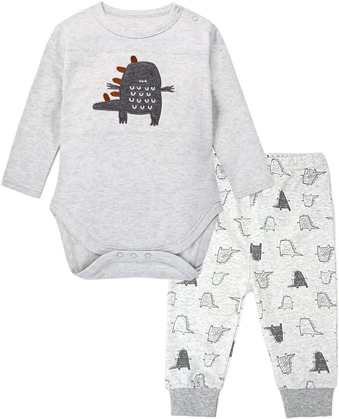 Ucoolcc Baby Langarm Bekleidungsset Neugeborenes Jungen M/ädchen Karikaturdruck Kapuzenpulli Oberseiten Gestreift Hose Baumwolle Tierdruck Overalls zweiteilig