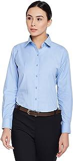 Lamode Ladies Solid Sky Blue Formal Shirt 407