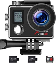 Campark Action Camera 4K WiFi Ultra HD Camera Underwater 30M 170°Wide-Angle Lens with Remote Control 2 Batteries and Mount...