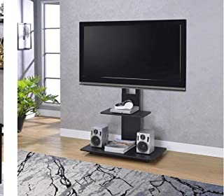 Height Adjustable Fixed Wooden TV Stand for LED TV up to 75 inch, TV VESA 600 mm X 400 mm (Square, Black)