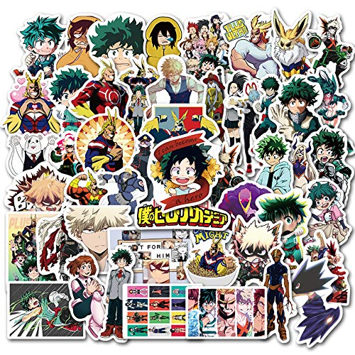 My Hero Academia Sticker 50pcs Cool Anime Stickers for Computers Laptop Skateboard Stickers for Kids Teens Adults Vinyl Waterproof Laptop Decals Phone Computer Suitcase Car Skateboard