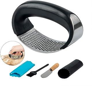 SENHAI - Rocker de acero inoxidable para ajos y jengibre de cocina con juego de pelador de ajo y cepillo de silicona