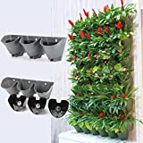 Worth Self Watering Vertical Wall Planter Flowerpot,Hanging Plant Pots W/ 3-Pockets and 3pc Filter Layer,Matte Grey,Perfect for Indoor & Outdoor DecorxFF08;Buy 3 Sets GetxFF09;