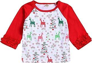 K-Youth Ropa Bebe Niña Invierno Navidad Reno Impresión Camiseta Manga Larga Bebe Niños 0 a 5 años Blusa Recien Nacido Bebe...