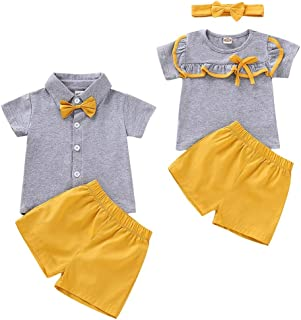 Baby Girls Boys Short Sleeve T-Shirt Tops Short Pants Brother and Sister Matching Outfits Set
