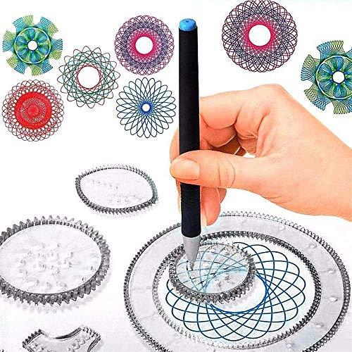 Spiral Designer Freestyle Spirograph Géométrique Spyrographe Deluxe Set Jouets Educatifs Magiques Dessin Pochoir Règle Peinture Cadeau pour Adultes et Enfants