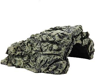 Garosa Cueva De Piedra Refugio Casa Escondida De Tortugas para Reptil Tortuga Rana Zoológico Adorno Decoración Ornamento(L)