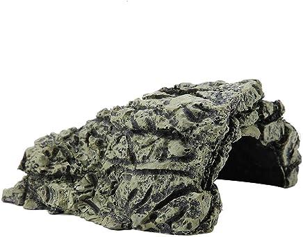 HEEPDD Cueva de Reptiles, Plataforma para el Sol de Resina Escondite Hábitat, Acuario Terrario Decoración Ornamento para pequeños lagartos Tortugas Anfibios Peces (Grande)