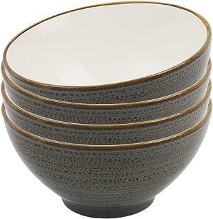 ProCook Napa - Vaisselle de Table en Porcelaine Blanche - 4 Pièces - 15cm - Bol à Céréales/à Soupe - Cerclé Glaçure Réacti...