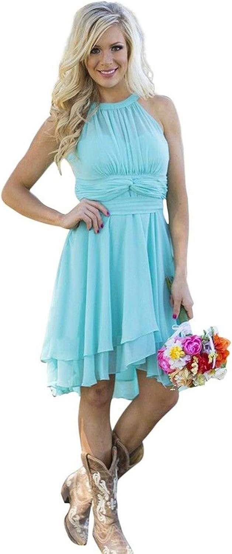 Ruiyuhong Halter Country Bridesmaid Dress Short Maid of Honor Gown LH340