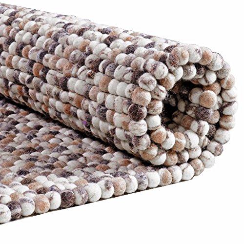 Taleta Filzkugelteppich aus 100% Schurwolle Handgefilzt Meliert Beige grau, Rund Größe:34x34cm